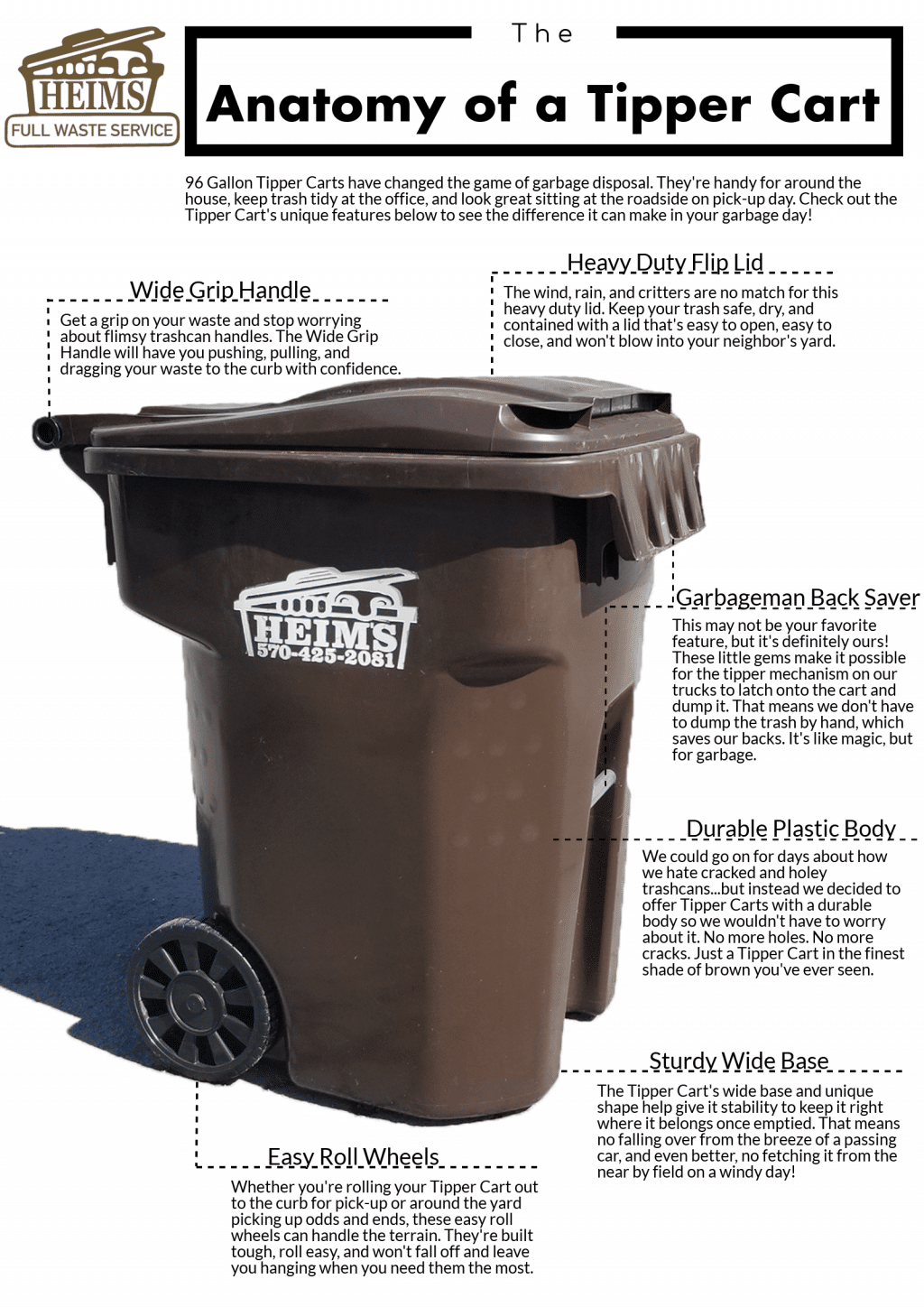 Our 96 Gallon Tipper Carts have a wide grip handle, heavy duty flip lid, a durable plastic body, a wide base for added stability, and easy roll wheels to make it the ultimate waste receptacle.