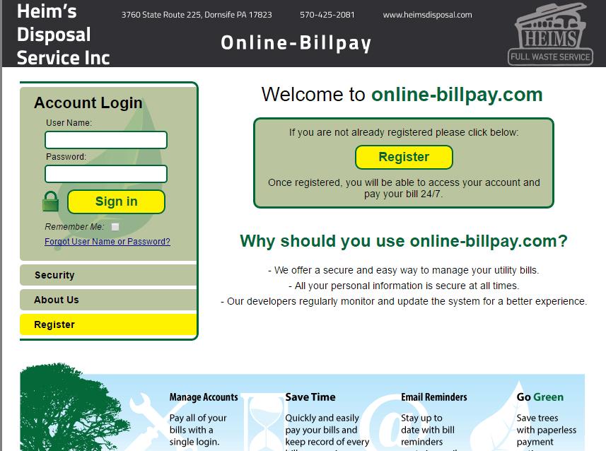 online bill pay - Heim's Disposal Service Inc